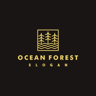 Design de logotipo criativo da floresta do oceano