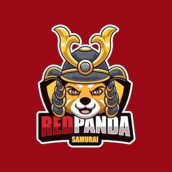 Design de logotipo criativo da mascote do samurai do panda vermelho