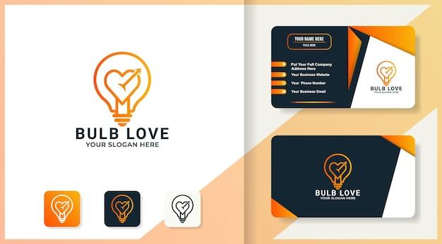 Design de logotipo criativo de amor de lâmpada e cartão de visita