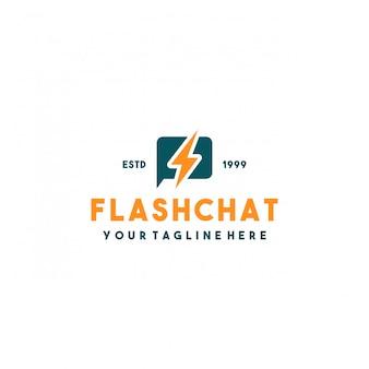 Design de logotipo criativo de bate-papo em flash