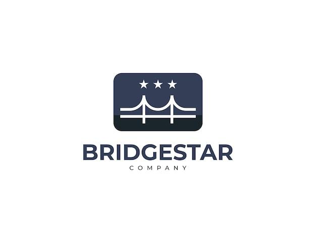 Design de logotipo criativo de bridge e estrelas