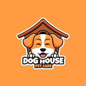 Design de logotipo criativo de casa de cachorro para animais de estimação
