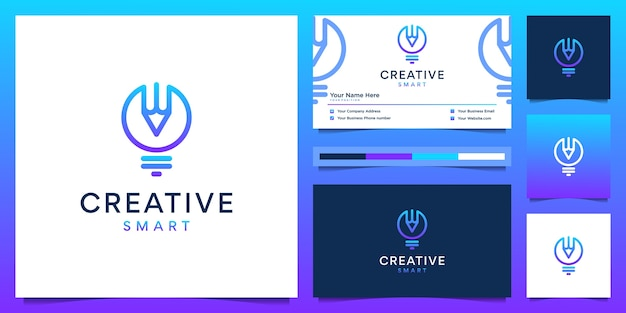 Design de logotipo criativo e cartão de visita. bulbo gradiente moderno e lápis com estilo forro