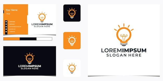 Design de logotipo criativo e cartão de visita com lâmpada