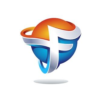 Design de logotipo criativo letra 3d f