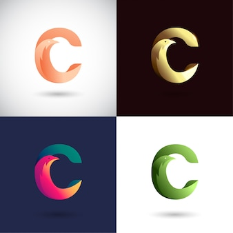 Design de logotipo criativo letra c