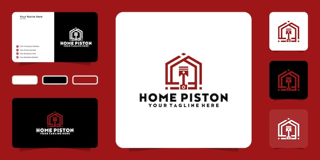 Design de logotipo criativo pistão, oficina e cartão de visita