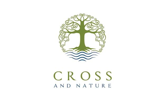 Design de logotipo cristão da igreja da natureza