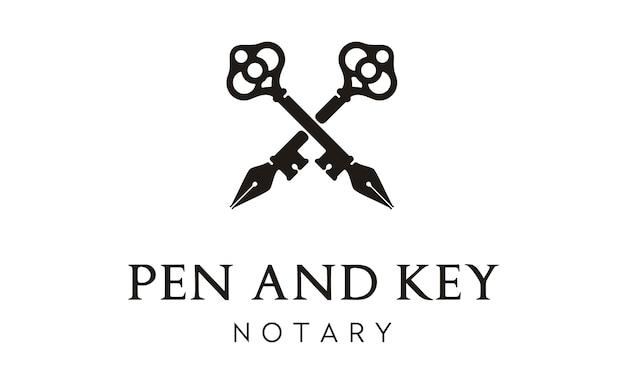 Design de logotipo cruz caneta e chave