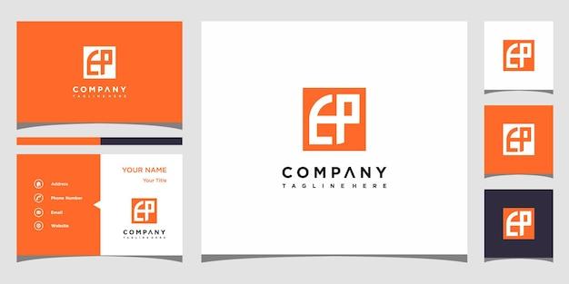 Design de logotipo da carta ep e cartão de visita premium vector