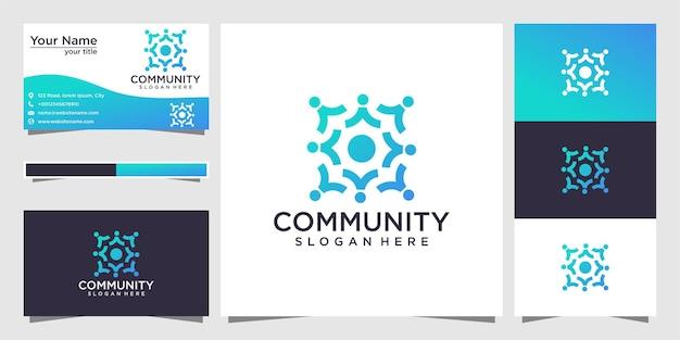 Design de logotipo da comunidade e cartão de visita