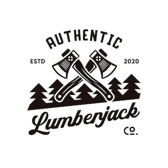 Design de logotipo da floresta de lenhador