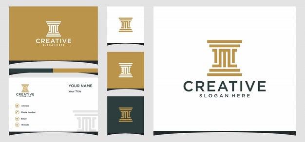 Design de logotipo da lei com modelo da letra m e cartão de visita