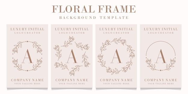 Design de logotipo da letra a com modelo de moldura floral