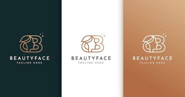 Design de logotipo da letra b com rosto de mulher