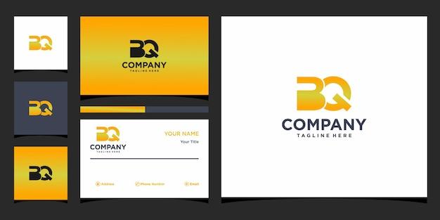 Design de logotipo da letra bq e cartão de visita premium vector
