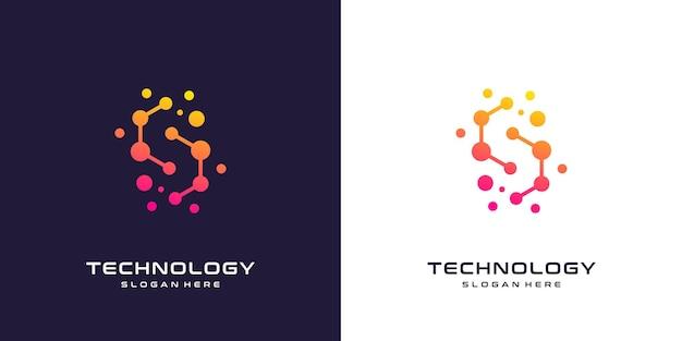 Design de logotipo da letra c com elemento de tecnologia