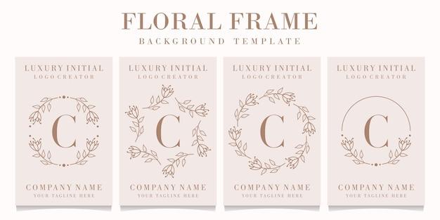 Design de logotipo da letra c com modelo de moldura floral