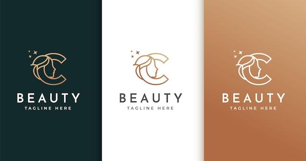 Design de logotipo da letra c com rosto de mulher