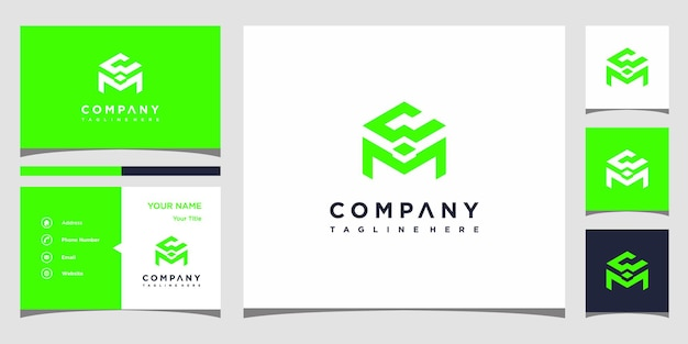 Design de logotipo da letra cm e cartão de visita premium vector