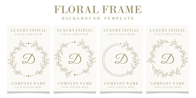 Design de logotipo da letra d de luxo com modelo de fundo de moldura floral