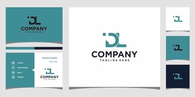 Design de logotipo da letra dl e cartão de visita premium vector