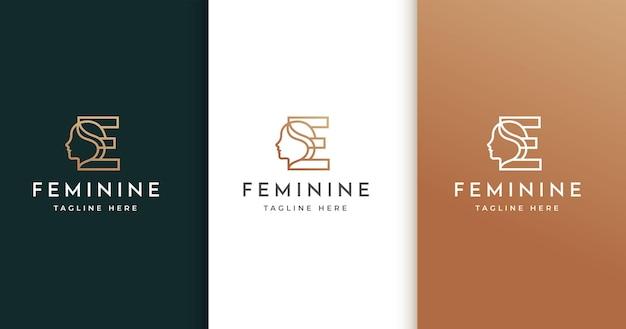 Design de logotipo da letra e com rosto de mulher
