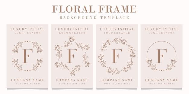 Design de logotipo da letra f com modelo de moldura floral