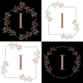 Design de logotipo da letra i com elemento de folha de orquídea