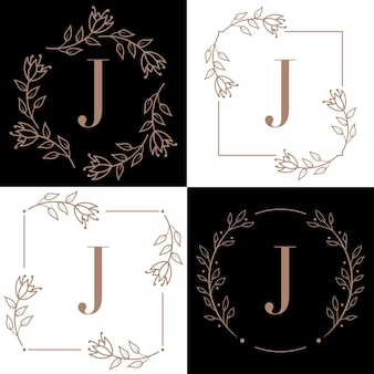 Design de logotipo da letra j com elemento de folha de orquídea