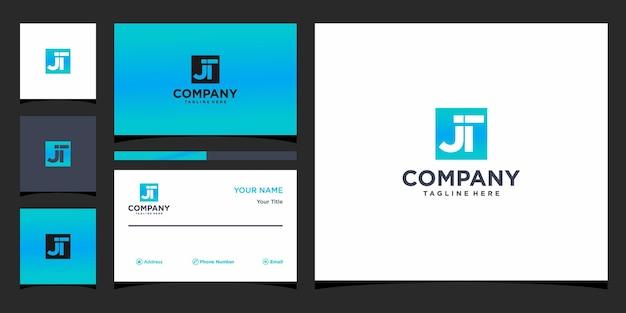 Design de logotipo da letra jt e cartão de visita premium vector