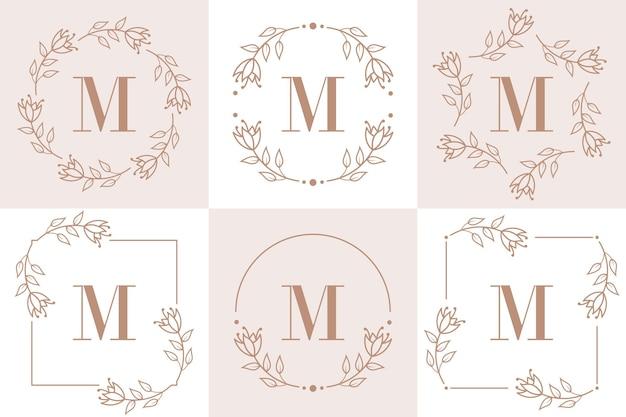 Design de logotipo da letra m com elemento de folha de orquídea