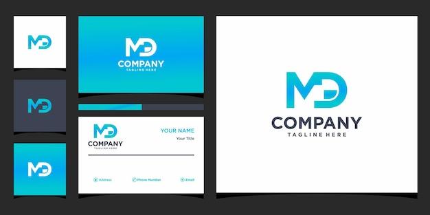 Design de logotipo da letra md e cartão de visita premium vector
