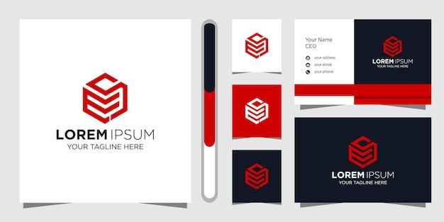 Design de logotipo da letra ms e cartão de visita.