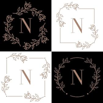 Design de logotipo da letra n com elemento de folha de orquídea