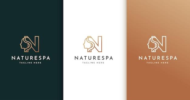Design de logotipo da letra n com rosto de mulher