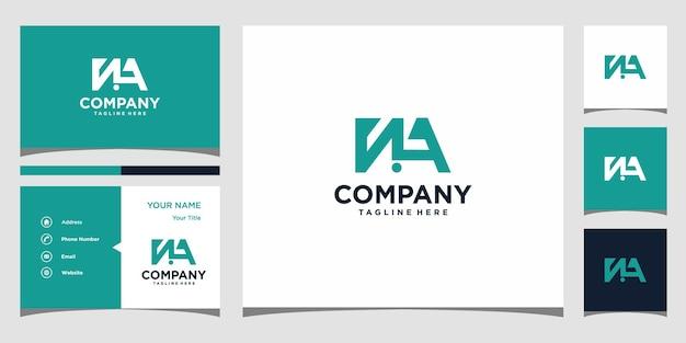 Design de logotipo da letra na e cartão de visita premium vector