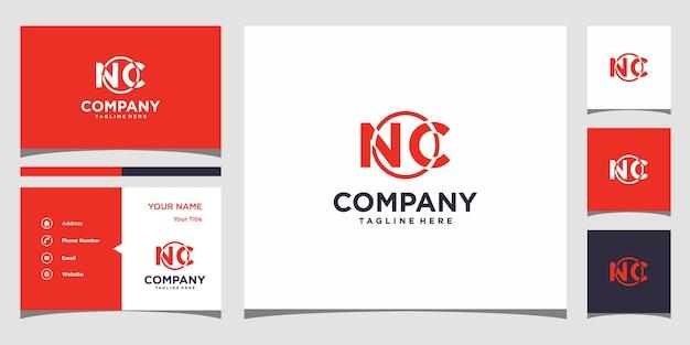 Design de logotipo da letra nc e cartão de visita premium vector