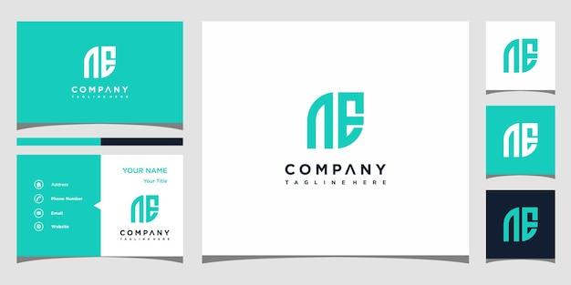 Design de logotipo da letra ne e cartão de visita premium vector