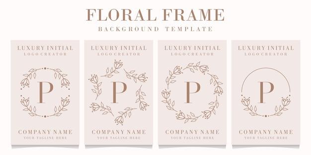 Design de logotipo da letra p com modelo de moldura floral
