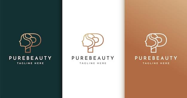 Design de logotipo da letra p com rosto de mulher