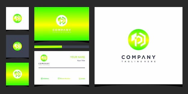 Design de logotipo da letra p e cartão de visita premium vector