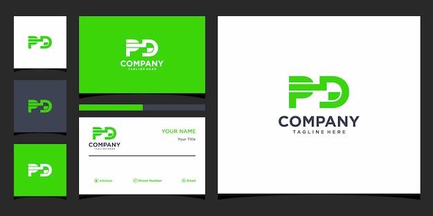 Design de logotipo da letra pd e cartão de visita premium vector