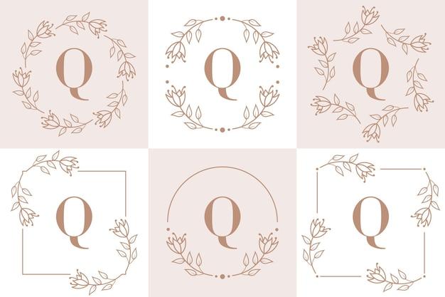 Design de logotipo da letra q com elemento de folha de orquídea