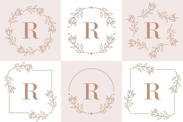Design de logotipo da letra r com elemento de folha de orquídea