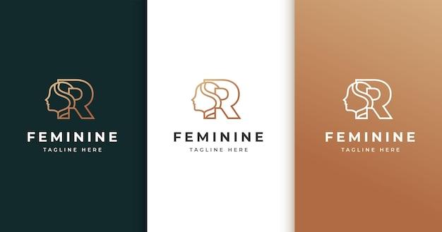 Design de logotipo da letra r com rosto de mulher