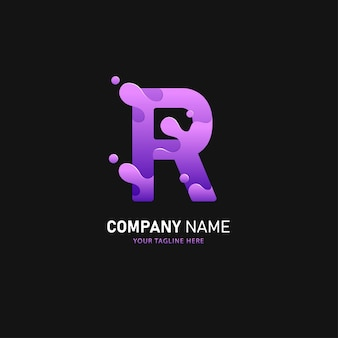 Design de logotipo da letra r, modelo de logotipo colorido
