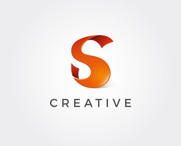Design de logotipo da letra s com corte de papel criativo
