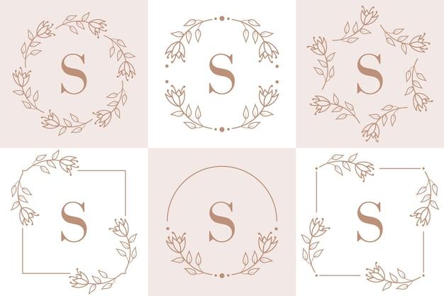 Design de logotipo da letra s com elemento de folha de orquídea