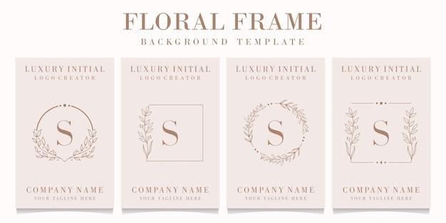 Design de logotipo da letra s de luxo com modelo de moldura floral